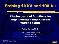 Probing 10 kV and 100 A : - Semiconductor Wafer Test Workshop