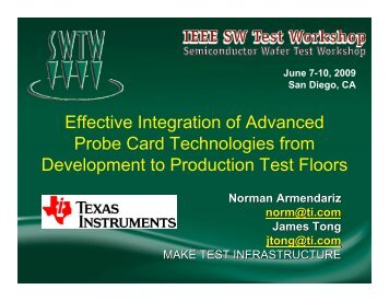 Effective Integration of Advanced Probe Card Technologies from ...