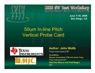50-um Pitch Vertical Probing - Semiconductor Wafer Test Workshop