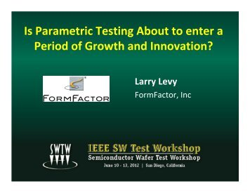 Is parametric testing about to enter a period of growth and innovation?