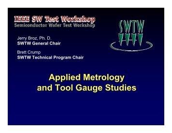 Applied Metrology and Tool Gauge Studies
