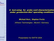 """A Test Setup for Probe Card Characterization under """"Production-like"""""""