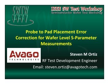 Probe to Pad Placement Error Correction for Wafer Level S ...