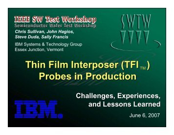 (TFI ) Probes in Production - Semiconductor Wafer Test Workshop