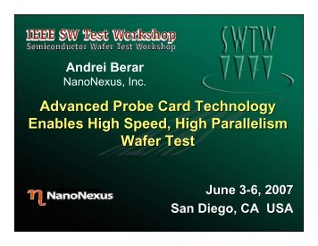 Advanced Probe Card Technology Enables Specialty Memory Wafer ...