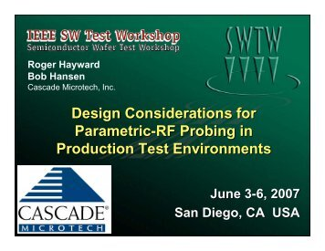 Design Considerations for Parametric-RF Probing in Production Test ...