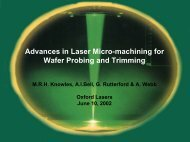 Advances in Laser Micro-machining for Wafer Probing and Trimming