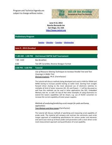 Preliminary Program (PDF) - Semiconductor Wafer Test Workshop
