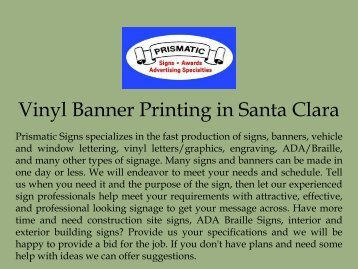Vinyl Banner Printing in Santa Clara