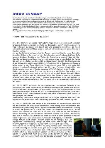 Tagebuch-Teil 241 - 280 (PDF ! > 1 MB) - 28.4.05 ... - SY Just Do It
