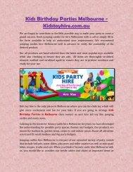 Kids Birthday Parties Melbourne - Kidstoyhire.com.au