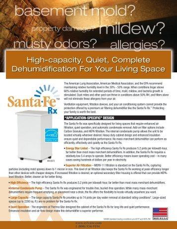 Santa Fe Rx Dehumidifier Sales Brochure | Sylvane - Sylvane.com