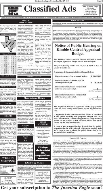 Classified Ads - Junction Eagle