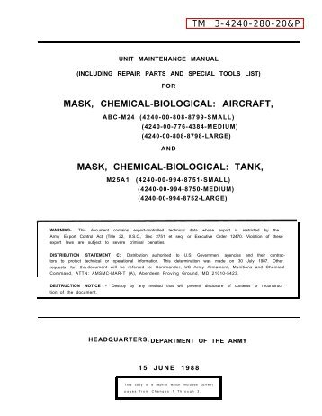 TM 3-4240-280-20&P MASK, CHEMICAL-BIOLOGICAL: AIRCRAFT ...