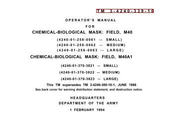 TM 3-4240-339-10 CHEMICAL-BIOLOGICAL MASK: FIELD, M40 ...