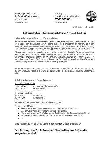 Einladung der Stiftung an die FerienbetreuerInnen