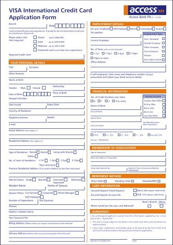 Application Form Visa Corporate Card Please return this ...