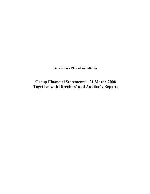 2008 Financial Statement - Access Bank
