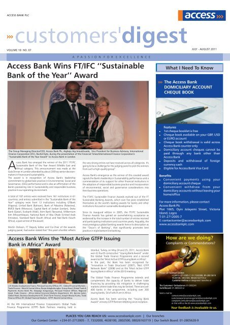 Customer digest JULY-AUGUST, 2011 ENGLISH.cdr - Access Bank