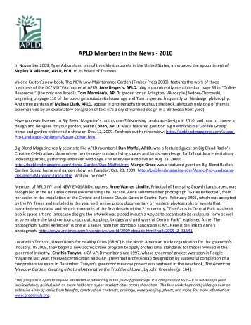 APLD Members in the News - 2010 - Association of Professional ...