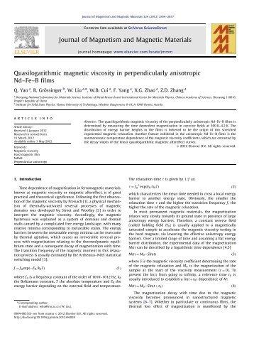 Quasilogarithmic magnetic viscosity in perpendicularly anisotropic ...