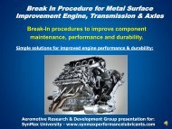 Break In Procedure for Metal Surface Improvement Engine - SynMax ...
