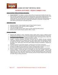 classic hot rod™ motor oil 10w-30 technical data sheet – product
