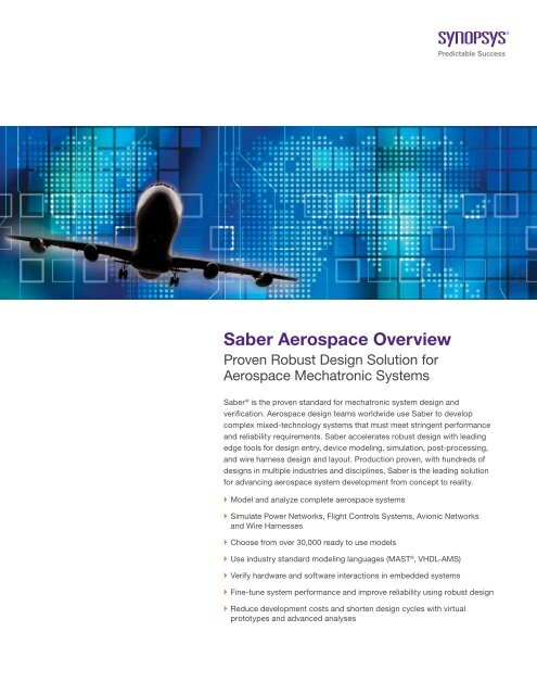 Saber Aerospace Overview Synopsys Com