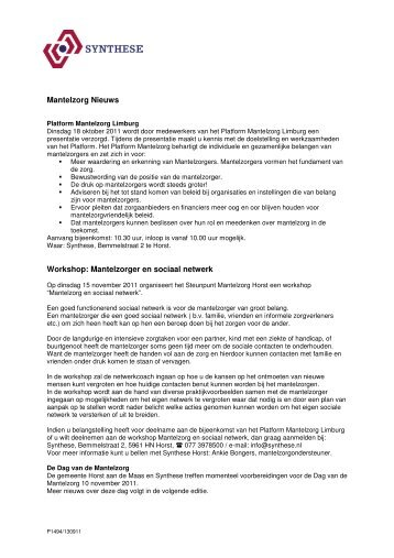 Mantelzorger en sociaal netwerk - Synthese