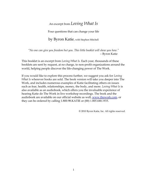 Excerpt from Loving What Is by Byron Katie (pdf) - Syntiro
