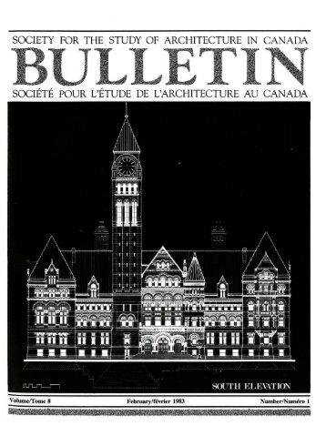 society for the study of architecture in canada - SEXTONdigital