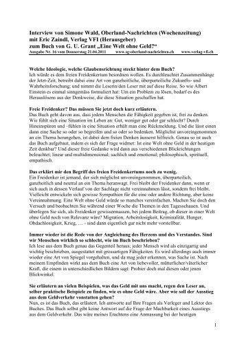 Interview Oberland-Nachrichten mit Eric Zaindl