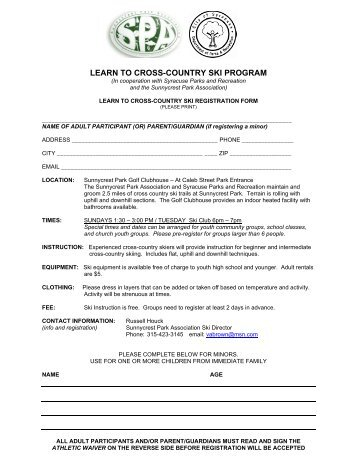 LEARN TO CROSS-COUNTRY SKI PROGRAM - City of Syracuse
