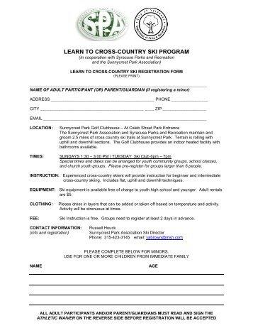 LEARN TO CROSS-COUNTRY SKI PROGRAM - City of Syracuse