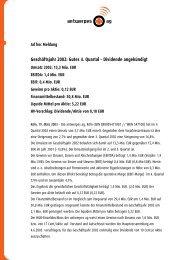 Geschäftsjahr 2002: Gutes 4. Quartal — Dividende ... - DocCheck AG