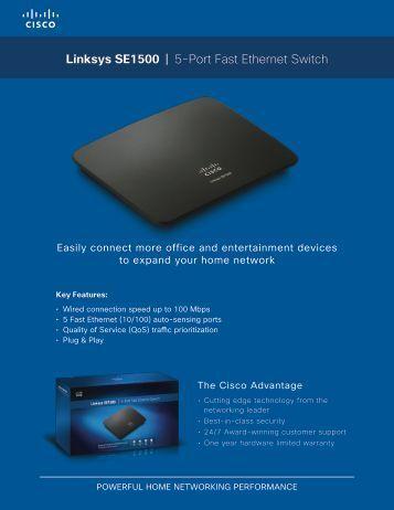 Linksys SE1500 | 5-Port Fast Ethernet Switch - Standard Bank UCount
