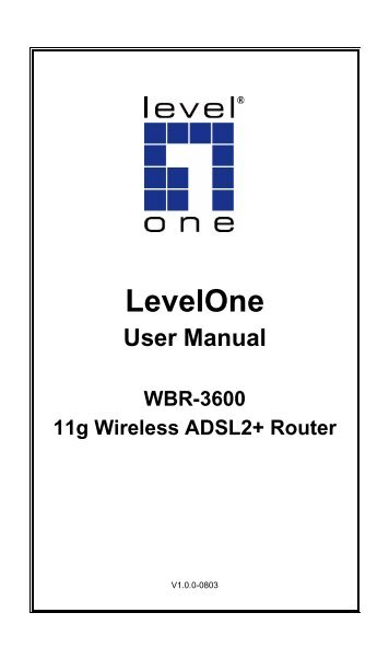 Levelone User Manual WBR-3600 11g Wireless ADSL2+ Router