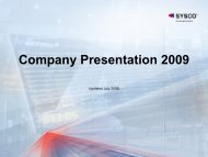Company Presentation 2009 - Sysco SpA