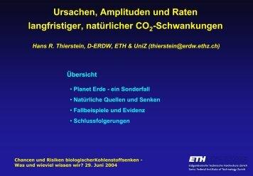 Ursachen, Amplituden und Raten langfristiger, natürlicher CO ...