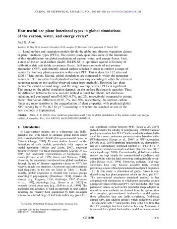 How useful are plant functional types in global simulations of the ...