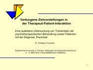 Verborgene Zielvorstellungen in der Therapeut-Patient-Interaktion