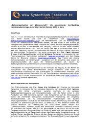 Tagungsbericht - Internetplattform für Systemische Forschung