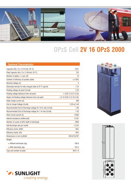 OPzS Cell 2V 16 OPzS 2000 - Systems Sunlight S.A.