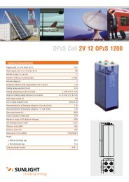 OPzS Cell 2V 12 OPzS 1200 - Systems Sunlight S.A.