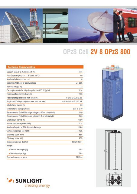 OPzS Cell 2V 8 OPzS 800 - Systems Sunlight S.A.