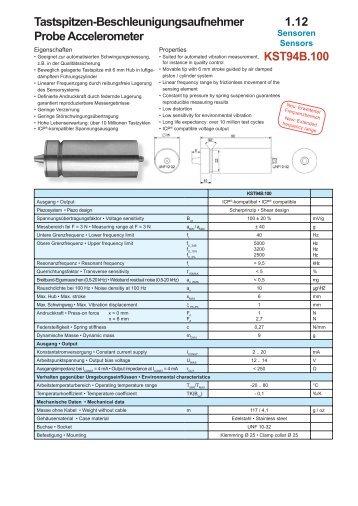 1.12 KST94B.100 Tastspitzen-Beschleunigungsaufnehmer Probe ...