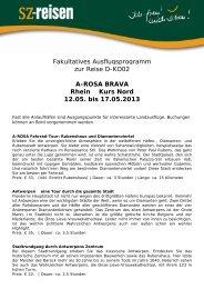 A-ROSA BRAVA Rhein Kurs Nord 12.05. bis - SZ-Reisen