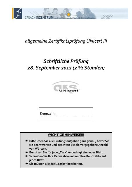 UNIcert III exam SS 12_allgemein pdf