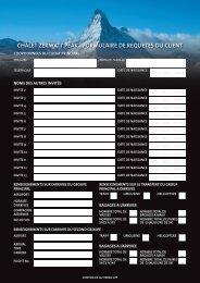 chalet zermatt peak - formulaire de requetes du client