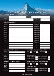 chalet Zermatt Peak – client requirement form